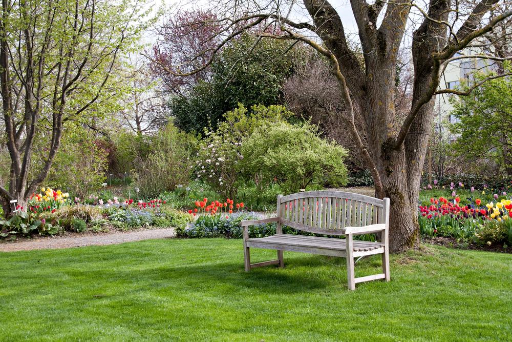 tuinbank in de tuin